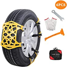 Bingqi 【New Update Aubingmotor Passenger Car Snow Chains 6 PCS Anti-Skid Cables..