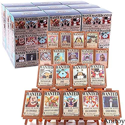 lkw-love Hot Toy Anime One Piece Luffy Nami Zoro Sanji Chopper Wanted Carteles Marco de Fotos Figura de acción Juguete Coleccionable 18pcs / Set A con Caja al por Menor-si