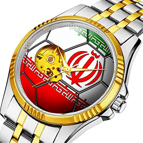 Mechanische Uhr Herrenuhr Klassische mechanische Uhr Timeless Design Mechanic (Gold) 521.Fahne des Iran Fußball-Ball