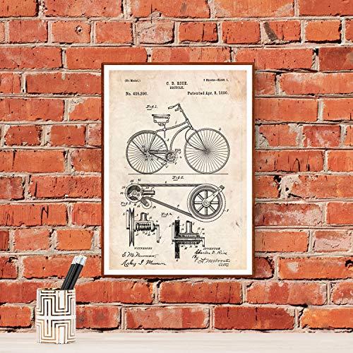 Nacnic Poster de Patente de Bicicleta. Lámina para enmarcar. Patentes, Planos de inventos Famosos. Decoracion de hogar. Tamaño (A3)