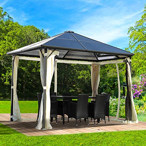 BRAST Alu-Pavillon Summerdream 3x3m beige festes Dach wasserdicht + Moskitonetz + LEDs 2 Farben 3 Größen 16 Modelle