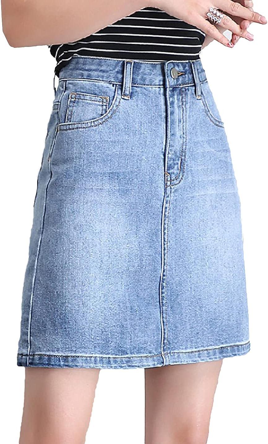 IKIIO Women's Casual Summer High Waist Slim Fit Skirts Denim Stretch Skirt with Pockets