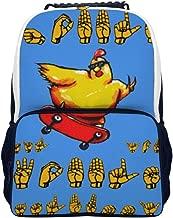 Funny Asl Unique schoolbag, unique printing makes you unique, metal zipper (21