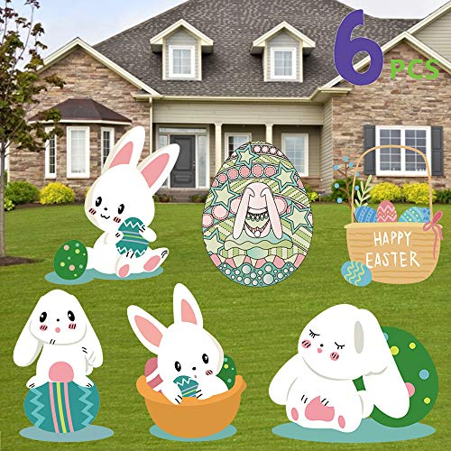 Easter Yard Signs Decorations Outdoor Bunny, Bunny and Eggs Easter Lawn Decorations for Easter Egg Hunt Game, Easter Props for Easter Game or Party, Party Décor, Waterproof Signs 6 Pieces