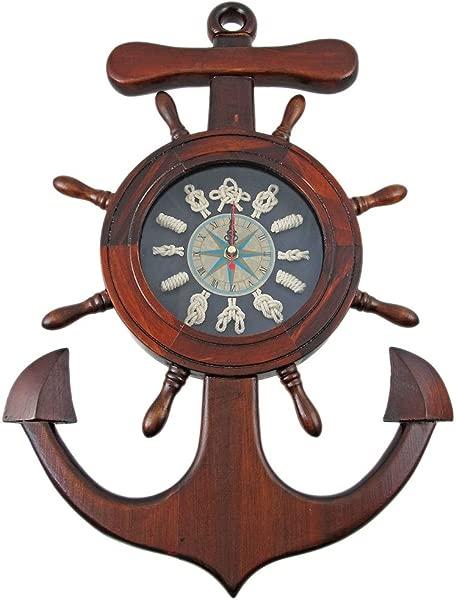 Wooden Ship S Wheel Anchor Sailor S Knot Wall Clock