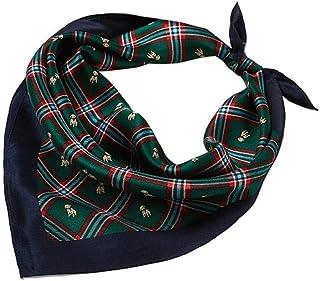 Bufanda cuadrada pequeña de seda británica Bufanda cuadrada pequeña de seda Bufanda de seda azafata verde a cuadros 53x53cm (20.9x20.9in) 100% Seda