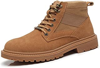 SHENYUAN Men's Ankle Boot Work Boot Round Toe Lace up Rubber Sole Genuine Leather Patchwork  Soft Stitching Wear-resisting Suede Work or Casual Wear (Color : Sand, Size : 42 EU)