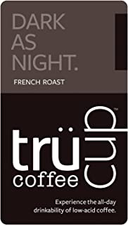 trücup Low Acid Coffee- Dark as Night French Roast - Whole Bean- 12 oz- Smooth, Dark Roast- Can Be Gentle on the Stomach