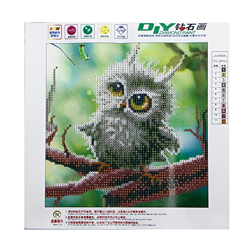 NNDA CO DIY 5D Owl Diamond Painting Embroidery Crafts Cross Stitch Home Room Wall Decor,25X25CM