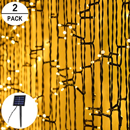 2-Pack Each 200LED 72FT Solar String Lights Outdoor Waterproof, Upgraded Super Bright Solar Lights Outdoor, 8 Modes Fairy Lights for Party Christmas Decorations Wedding Patio Garden Tree (Warm White)