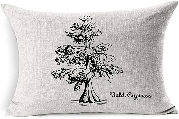 Ahawoso Linen Throw Pillow Cover King 20x36 Red Tree Sketch Bald Cypress Black Travel Nature Swamp Drawn Tropical Ink Botany Leaf Hand Louisiana Botanical Pillowcase Home Decor Cushion Pillow Case
