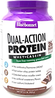 Bluebonnet Nutrition Dual-Action Protein Powder, Whey from Grass Fed Cows, 26 Grams of Protein, No Sugar Added, Non GMO, G...