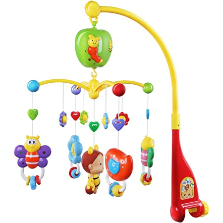 GrowthPic Musical Mobile Baby Crib Mobile with Hanging Rotating Toys and Music Box, Red