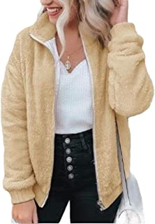 Macondoo Women Basic Full Zip Fleece Outwear Coat Fuzzy Slim Jacket