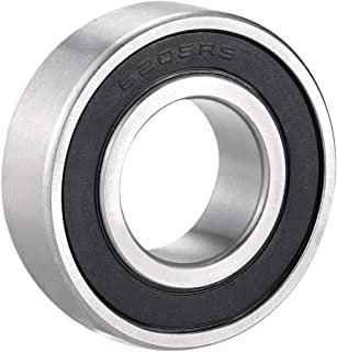 uxcell 6205RS Deep Groove Ball Bearing Single Sealed 160205, 25mm x 52mm x 15mm Chrome Steel Bearings Pack of 1