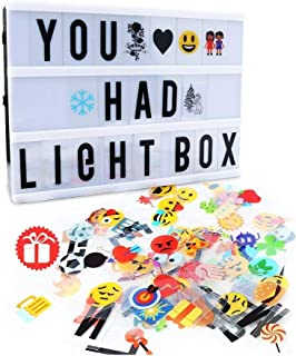 Cinema Light Box,Delicacy A4 Size Cinematic Light Box Light Up LED Letter Box with Total 189 Characters and Colorful Symbo...