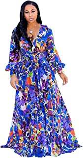 Halfword Women's Summer Long Maxi Dresses - Floral Printed V Neck Long Sleeve Wrap Boho Dreses