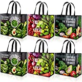 Whaline Reusable Grocery Bags Non-Woven Tote Bags Vegetable Pattern Produce Bags with Handles Heavy...