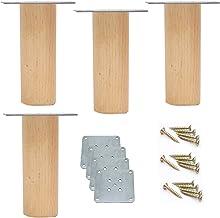 Set van 4 kastpoten van natuurlijk massief hout, houten meubelpoten, meubelpoten, beuken bankpoten, vervangende tafelpote...