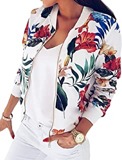 Womens Printed Long Sleeve Zip Up Stand Collar Classic Baseball Biker Bomber Jacket Short Coat Outwear