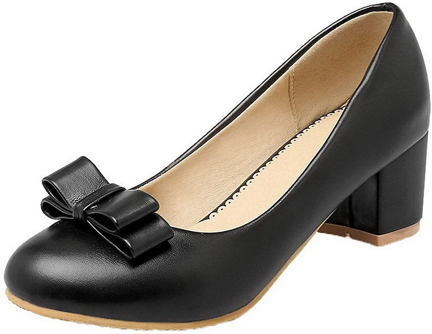 WeenFashion Women's PU Pull-On Pumps-shoes