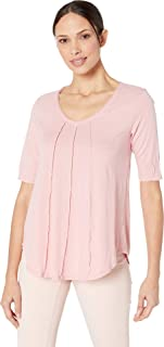 Mod-O-Doc Women's V-Neck Elbow Sleeve Tee with Pintucks in Supreme Jersey