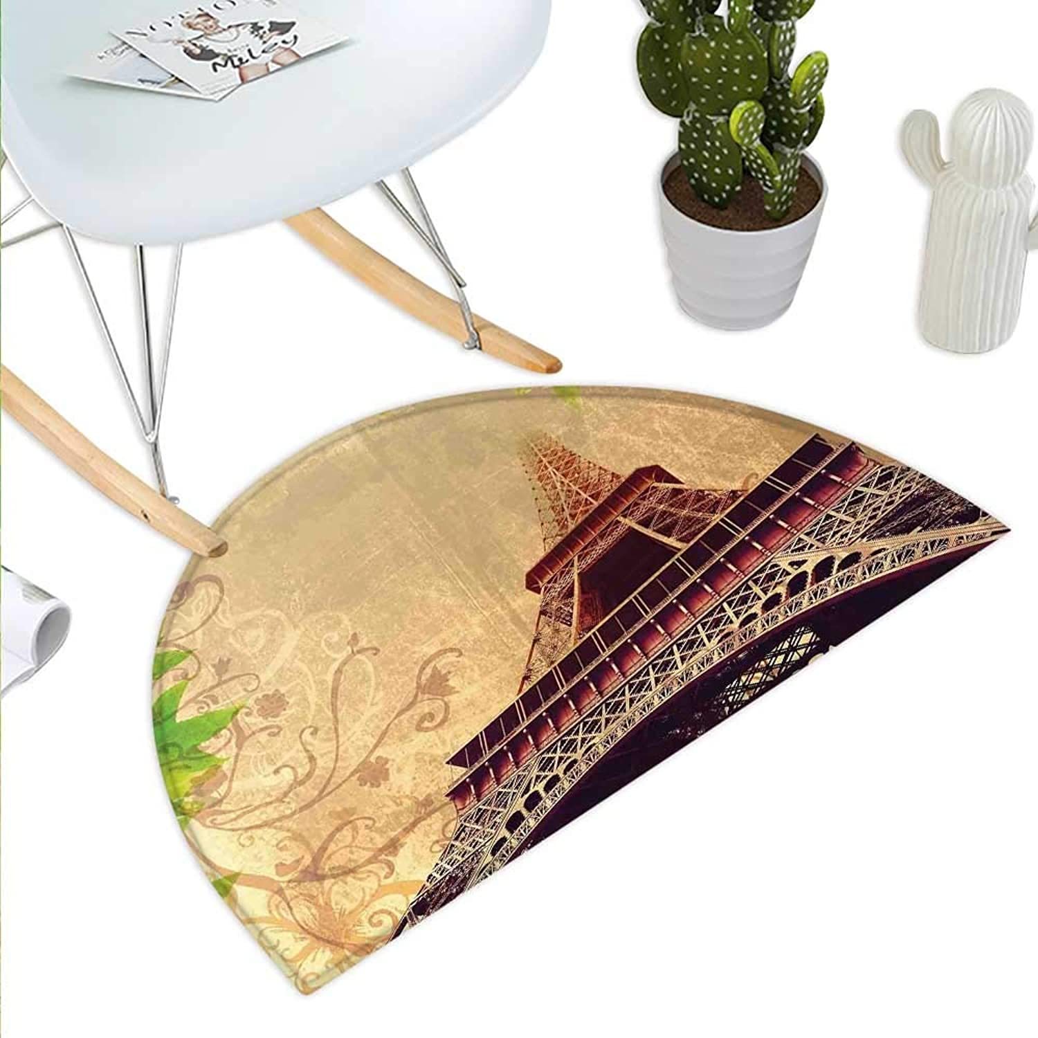 Eiffel Tower Semicircle Doormat Eiffel Tower and Tree Leaves on Grunge Background with Swirls and Scrolls Halfmoon doormats H 47.2  xD 70.8  Sepia Beige