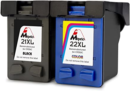 Mipelo Remanufacturado HP 21XL 22XL 21 22 Cartuchos de tinta (1 Negro, 1 Tricolor) Compatible con HP Deskjet F4180 F2180 F2280 F2290 F380 F335 F390, HP Officejet 4315 4355 Impresora