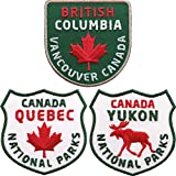 3er Set Canada Abzeichen British Columbia + Quebec + Yukon gestickt 60 mm / Vancouver Kanada Nationalparks / Aufnäher Aufbügler Flicken Bügelbild Patch / Ahorn Reise Reiseführer Fahne...