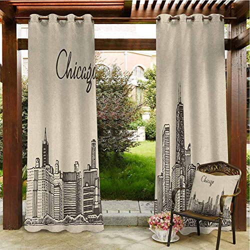 Chicago Skyline Pergola Curtain Vintage Style Urban Silhouette Country Culture Architecture Capital Thermal Insulated with Grommet Curtains for Bedroom 84x84 INCH,Beige Dark Brown