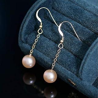 ZPEE Earring 9-9.5mm Women's Selected Freshwater Pearl Earrings 14K Gold-Plated Ear Hooks Pendant Earrings Earrings Women'...