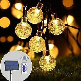 infinitoo Solar String Lights Outdoor, 19.8 Feet 40 LED Crystal Balls, Waterproof Globe Solar Powered, Globe Fairy String ...