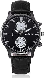 Men's Business Watch,Hosamtel Boy Retro Leather Analog Alloy Quartz WristWatch A41 (Black)