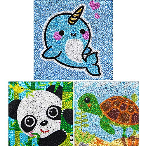 Yisong 3 Packs 5D Diamond Painting Kit for Kids Full Drill Painting by Number Kits Easy to DIY Diamond Painting Art and Crafts Set for Home Wall Decor (Turtle Panda Whale)