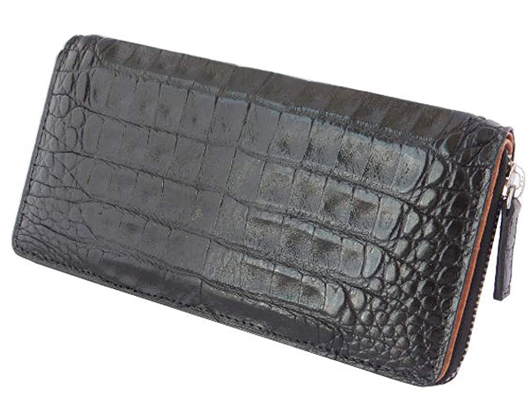 休憩急性ずんぐりしたGODANE (ゴダン) ラウンドファスナー カイマンクロコダイル長財布 センターベリー使用 spcw8035cp/BlackBelly ブラック