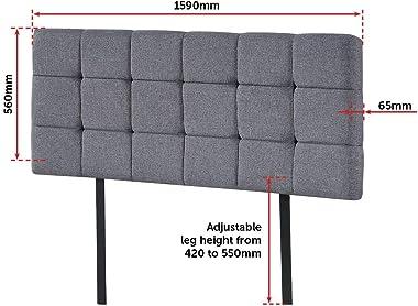 Linen Fabric Queen Bed Deluxe Headboard BedHead - Grey