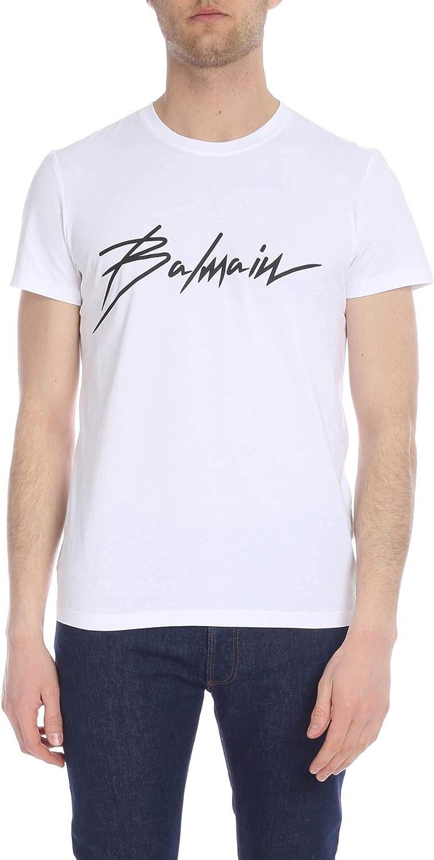 BALMAIN Men's RH01601133GAB White Cotton TShirt