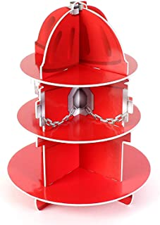 Kicko Red Fire Hydrant Cupcake Stand Holder 3 Tier, 5.75 X 11 Inches - 1 Hydrant per Order - Table Decorations for Firefighter, Fire Rescue themed Birthday, Halloween, Party