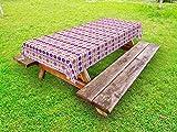 LIS HOME Mantel al Aire Libre guatemalteco, Tribal Ornamental Vintage Azteca Diagonal Boho Motivo, Decorativo Lavable Mantel de Picnic, púrpura Rosa Amarillo Blanco