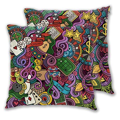 ZELXXXDA Kissenbezüge, 2er-Set,Cartoon Hand gezeichnete Kritzeleien Casino SDekorative quadratische Kissenhülle für Sofa Couch Schlafzimmer Auto 16