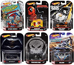 Super Comics Entertainment Retro Entertainment Collectible Cars Marvel bundle Punisher Van, Deadpool Chimichanga Truck, Spider-Mobile, Ghost Rider Charger, Guardians Galaxy Milano and Batmobile 6 item