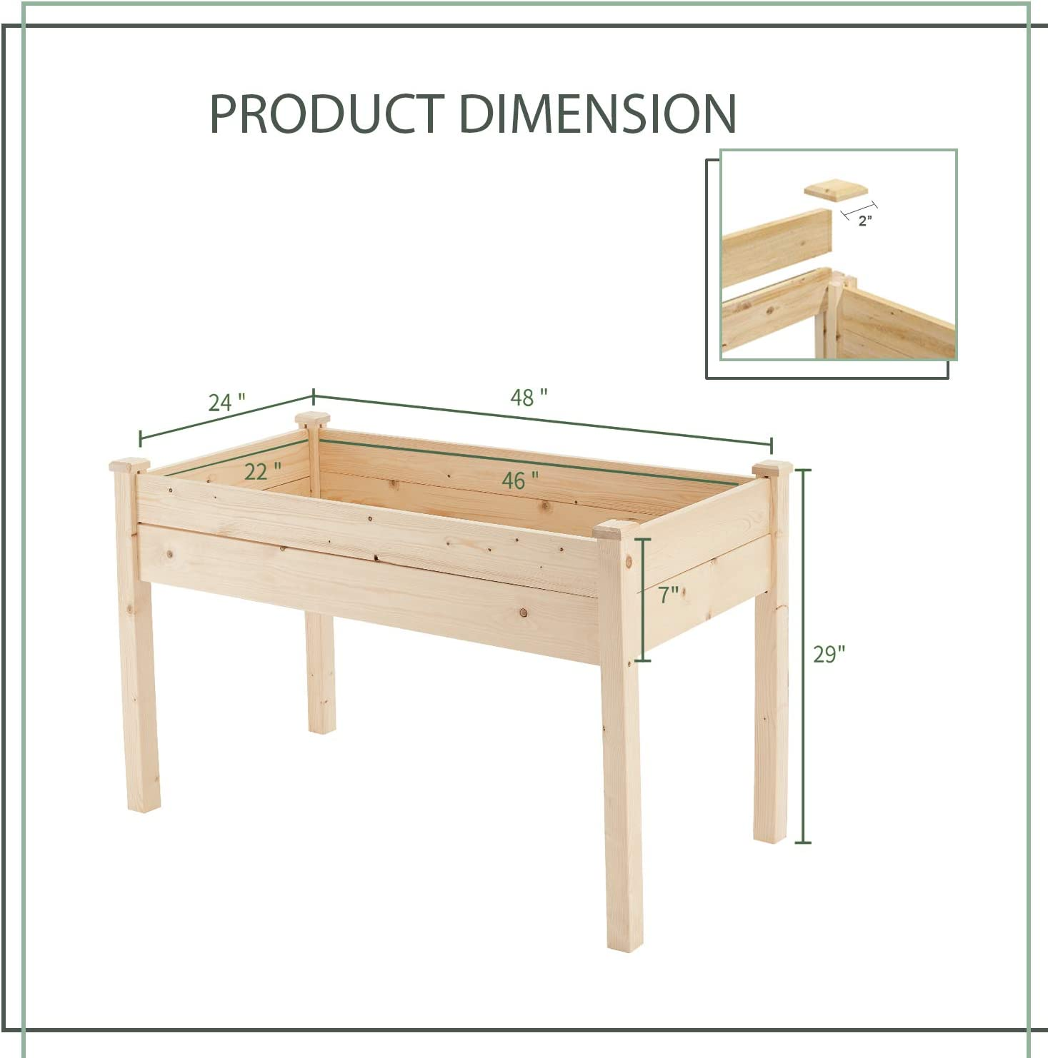 3 FT Rectangle Planter Box Kit for Balcony and Patio GOOGIC Raised ...