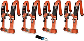 Pro Armor A114220OR P151100 Orange 4-Point Harness 2 Inch Straps, 4 Pack RZR UTV Seat Lap Belt with Bypass Clip