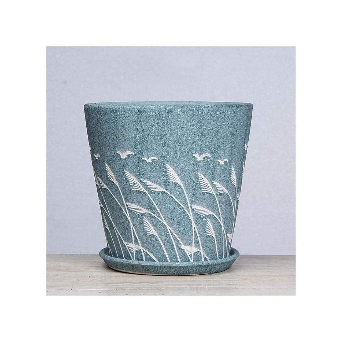 アーカイブロケットオリエンテーション実用植木鉢 ブルー、グリーンヨーロピアンスタイルフラワーポットセラミックエクストララージミディアムハイエンドグランドグリーンプラントクリエイティビティ鉢植えトレイ付きプラスチックフラワーポット(カラー:ブルー、サイズ:ラージ) (Color : Green, Size : Large)