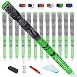SAPLIZE Golf Grips 13 Piece with Complete Regripping Kit, Standard Size, Cord Rubber, Hybrid Golf Club Grips, Fluorescent Green