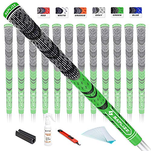 SAPLIZE Golf Grips 13 Piece with Complete Regripping Kit, Midsize, Cord Rubber, Hybrid Golf Club Grips, Fluorescent Green