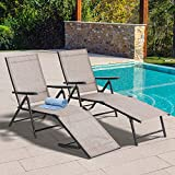 Vongrasig Patio Chaise Lounge Chairs Set of 2, Outdoor Adjustable Steel Textiline Folding Reclining Lounge Chair Outdoor Lay Out Chairs w/ 6 Back 2 Leg Positions for Lawn Garden Pool Beach Yard, Brown
