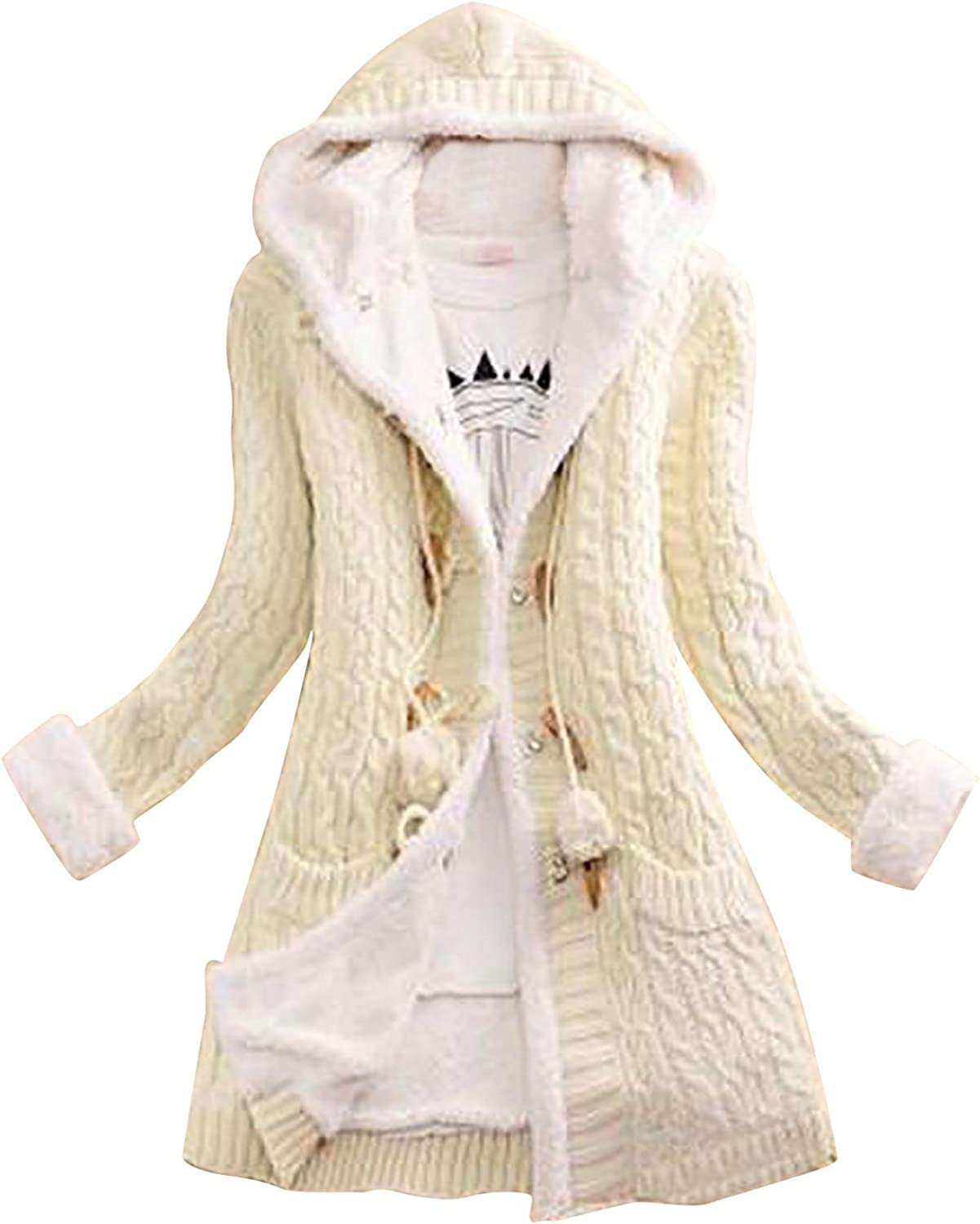 Womens Winter Coats, Button Solid Color Knit Sweater Cardigans Double Thick Warm Casual Knit Sweater Coats