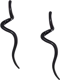 Black Enamel Swirl Post Earrings