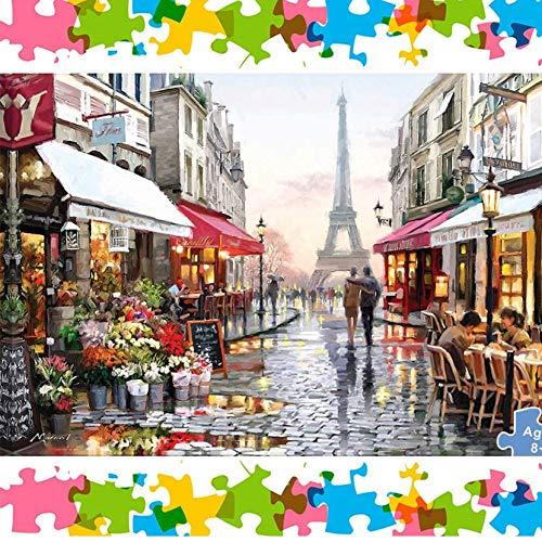 Hizoop 1000 Piezas Paris Flower Street Puzzle, Rompecabezas Juego Educativo para niños Adultos Juguete para aliviar el estrés Juego Intelectual (70 x 50 cm)